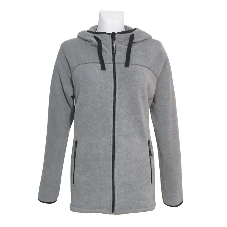 Agilitini Sportswear - Women Fleece-Jacket with hood in lightgrey