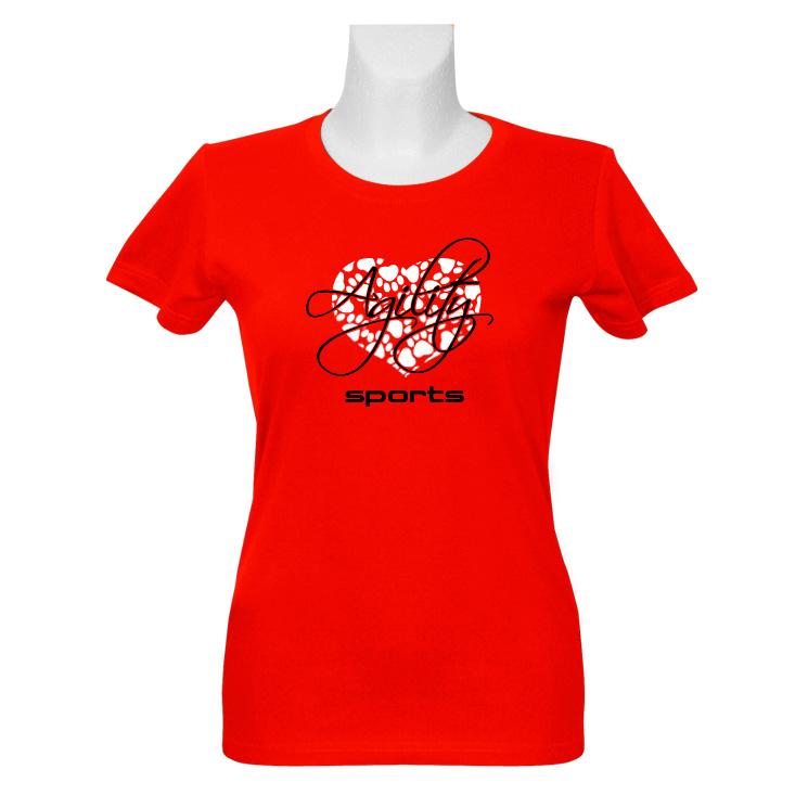 agilitini sportswear damen t shirt in rot mit herz in wei. Black Bedroom Furniture Sets. Home Design Ideas