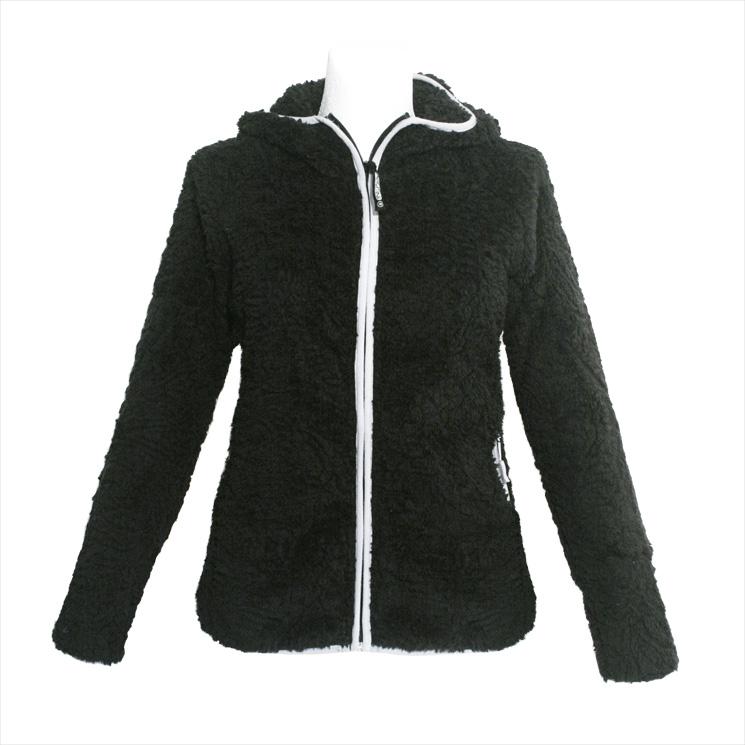 agilitini sportswear damen highloft fleece jacke mit kapuze in schwarz. Black Bedroom Furniture Sets. Home Design Ideas